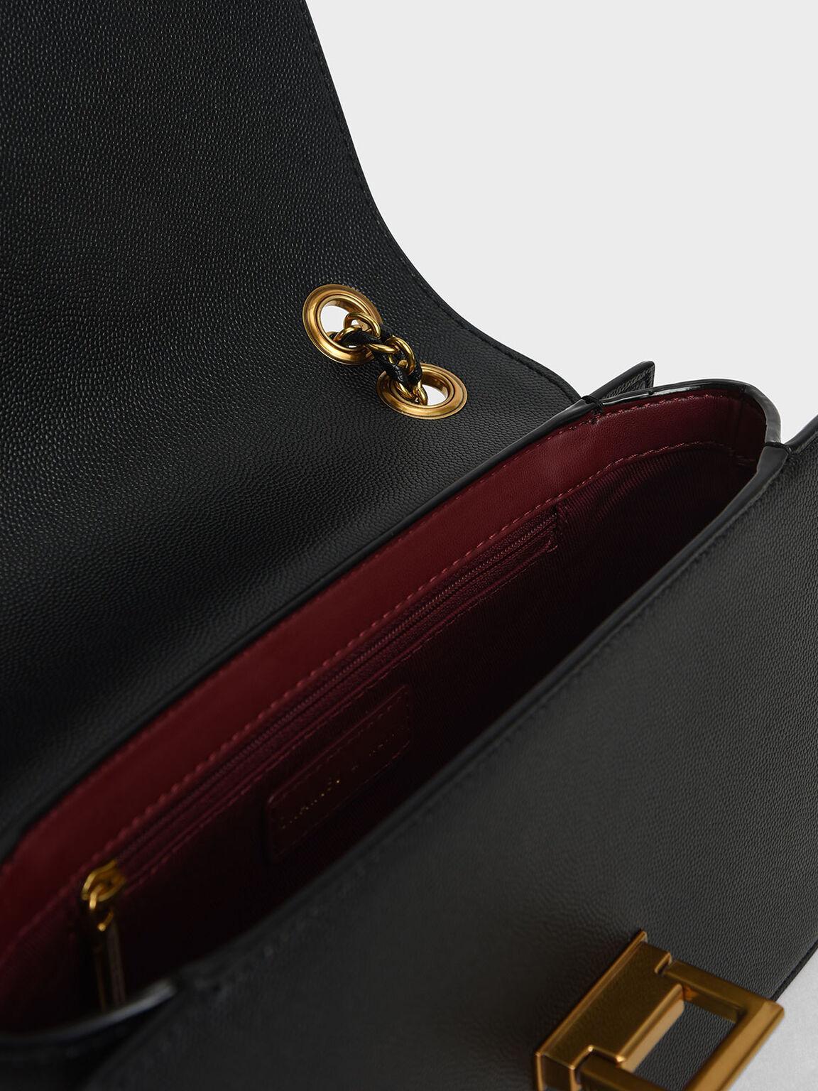 金屬方扣肩背包, 黑色, hi-res