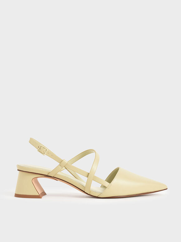 Strappy Trapeze Heel Pumps, Yellow, hi-res