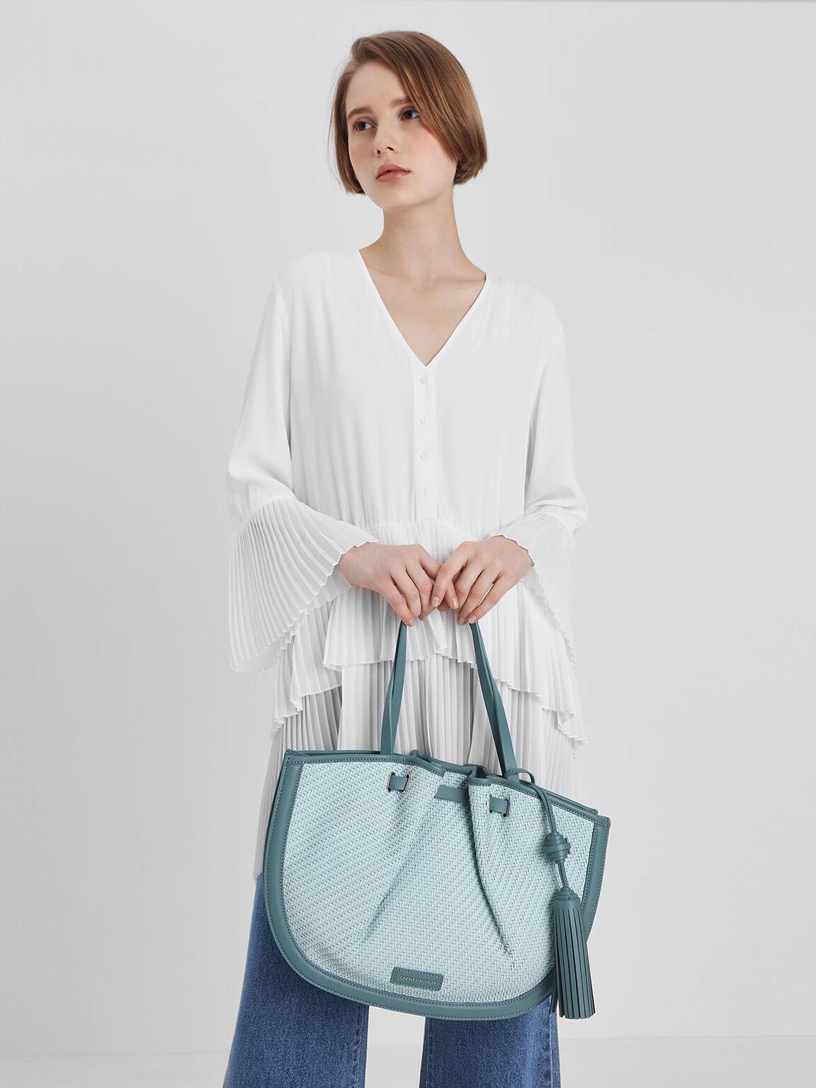 Tassel Tote Bag, Teal, hi-res