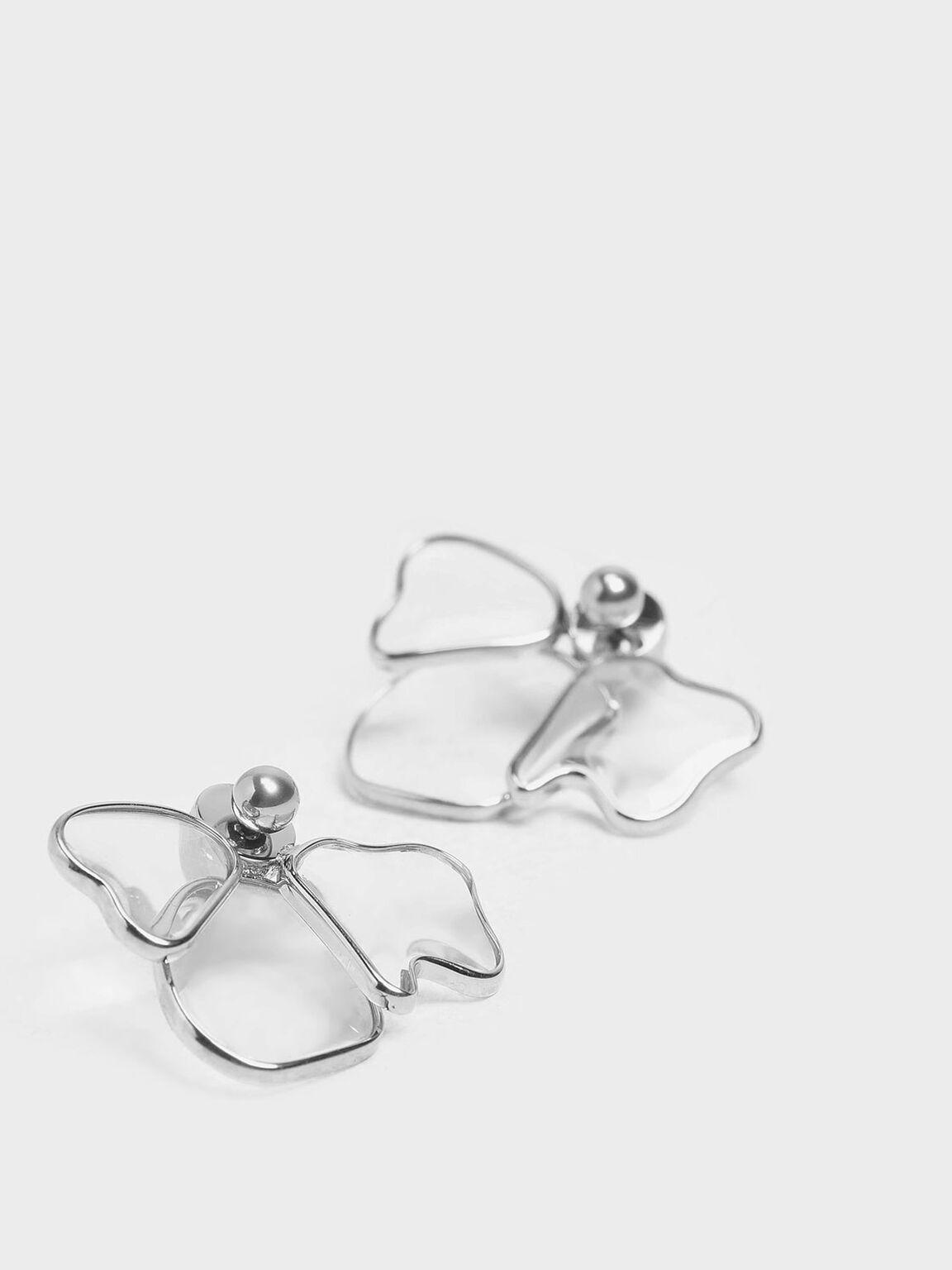 Crystal & Acrylic Petal Stud Earrings, Silver, hi-res
