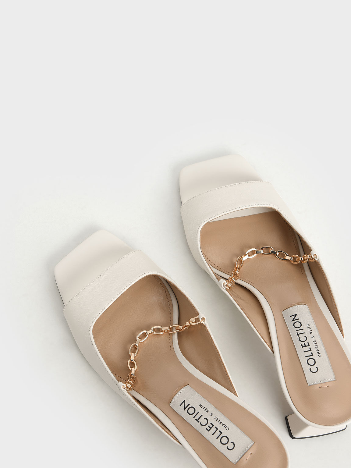 Leather Chain Link Mules, White, hi-res