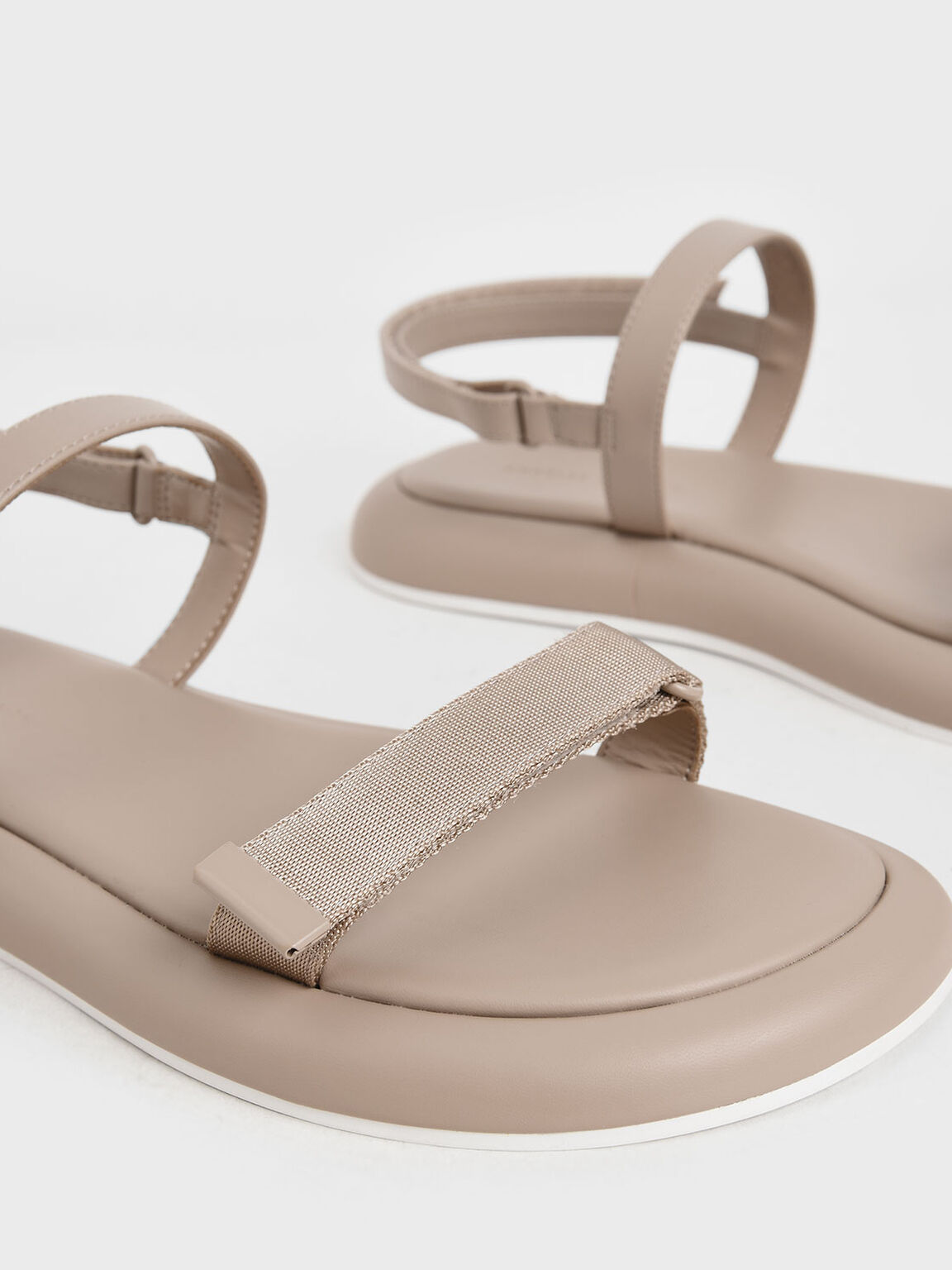 Velcro Strap Sandals, Nude, hi-res