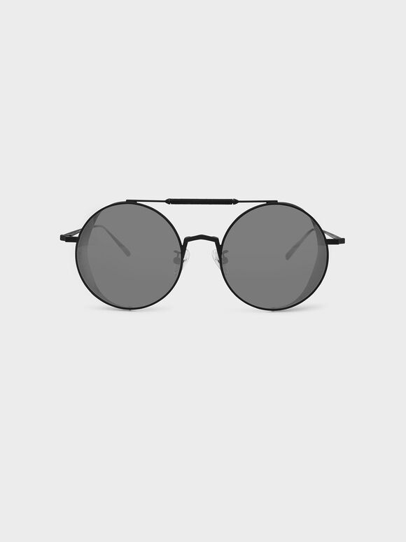Mesh Detail Sunglasses, Black, hi-res