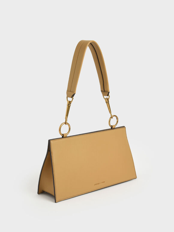 Ring Detail Shoulder Bag, Camel, hi-res