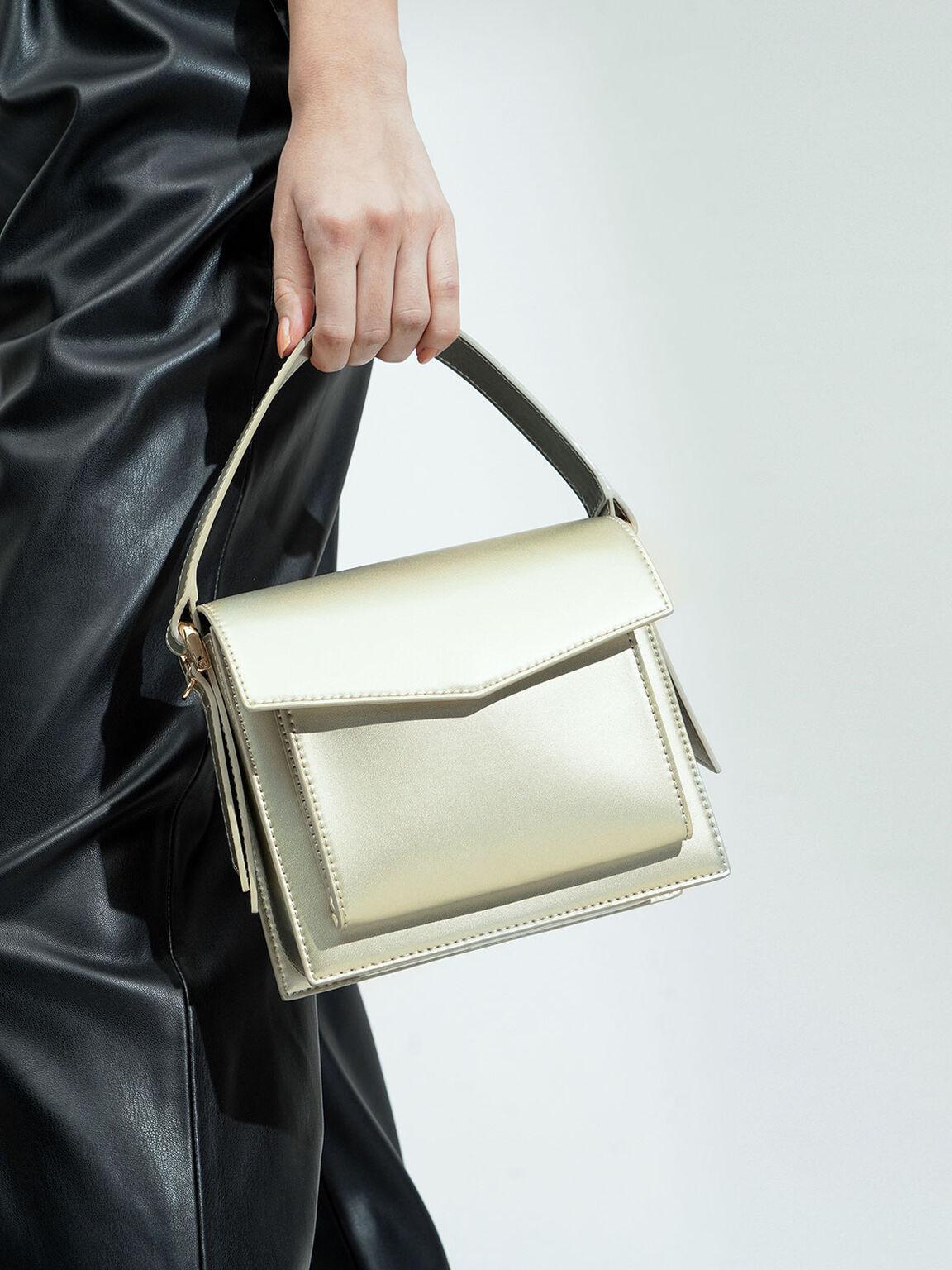Top Handle Envelope Bag, Gold, hi-res