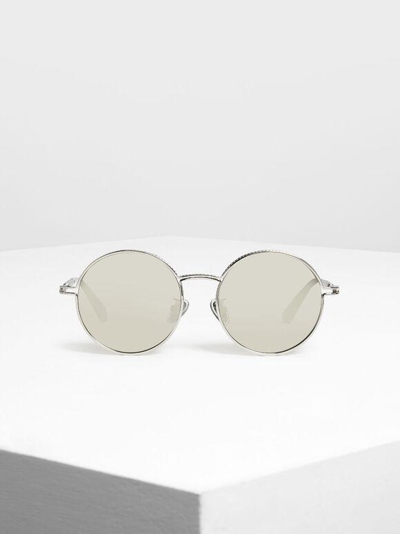 圓框墨鏡, 銀色, hi-res