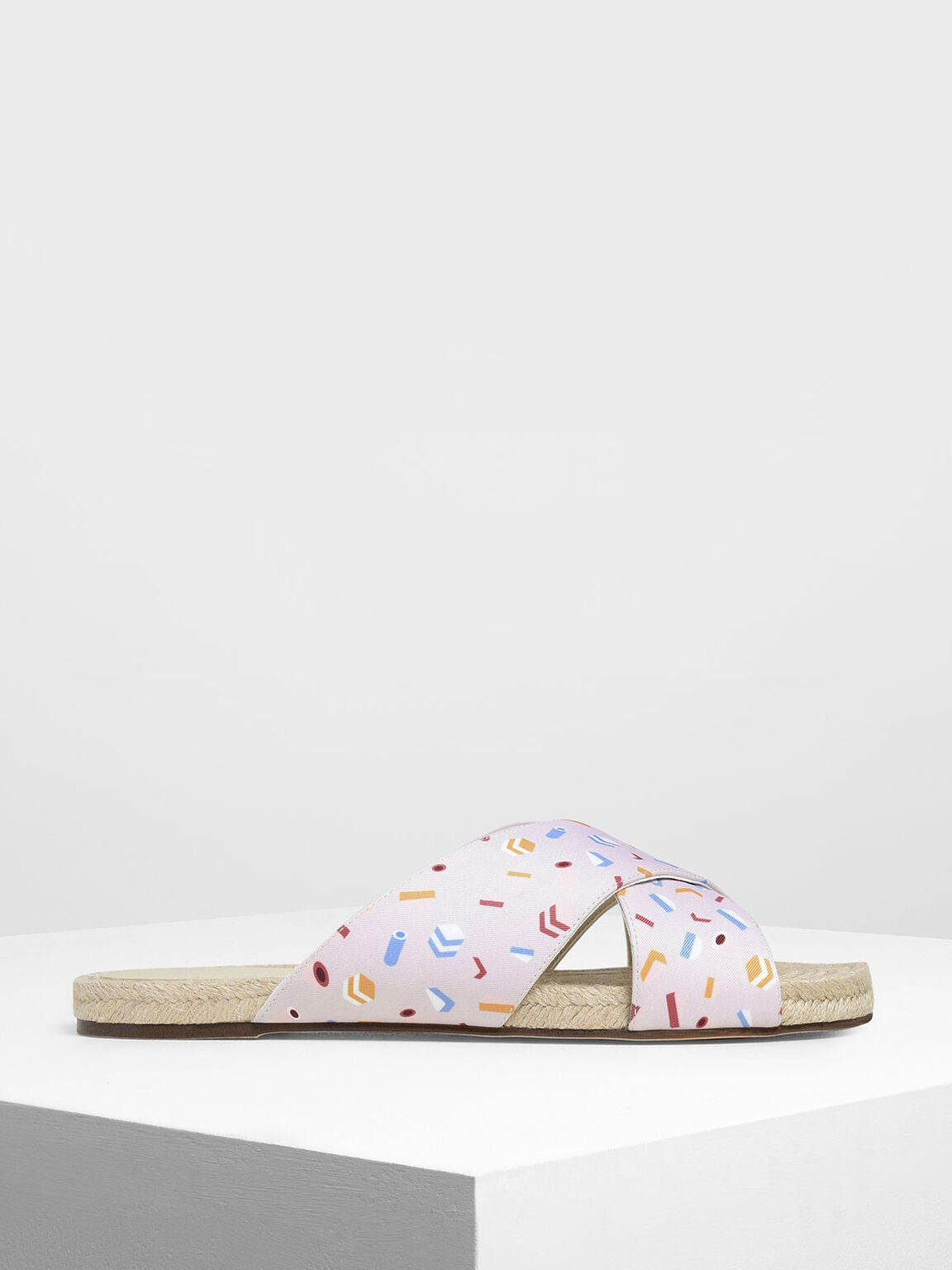 Criss Cross Printed Fabric Slide Sandals, Light Pink, hi-res