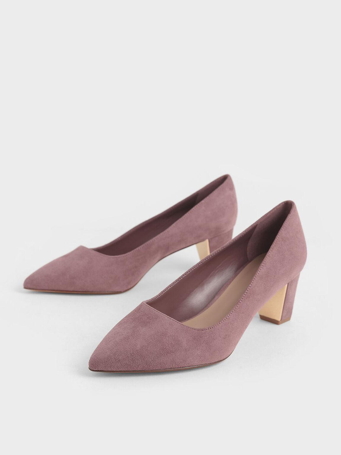 經典粗跟鞋, 紫灰色, hi-res
