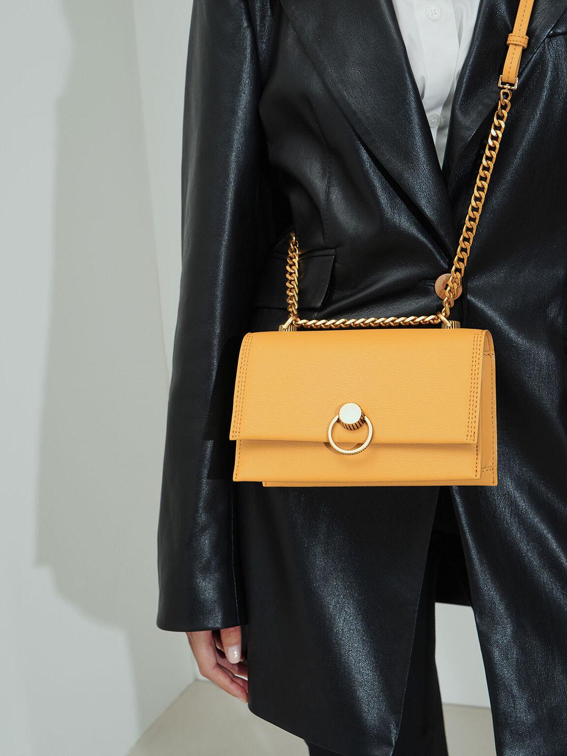 Ring Push-Lock Shoulder Bag, Yellow, hi-res