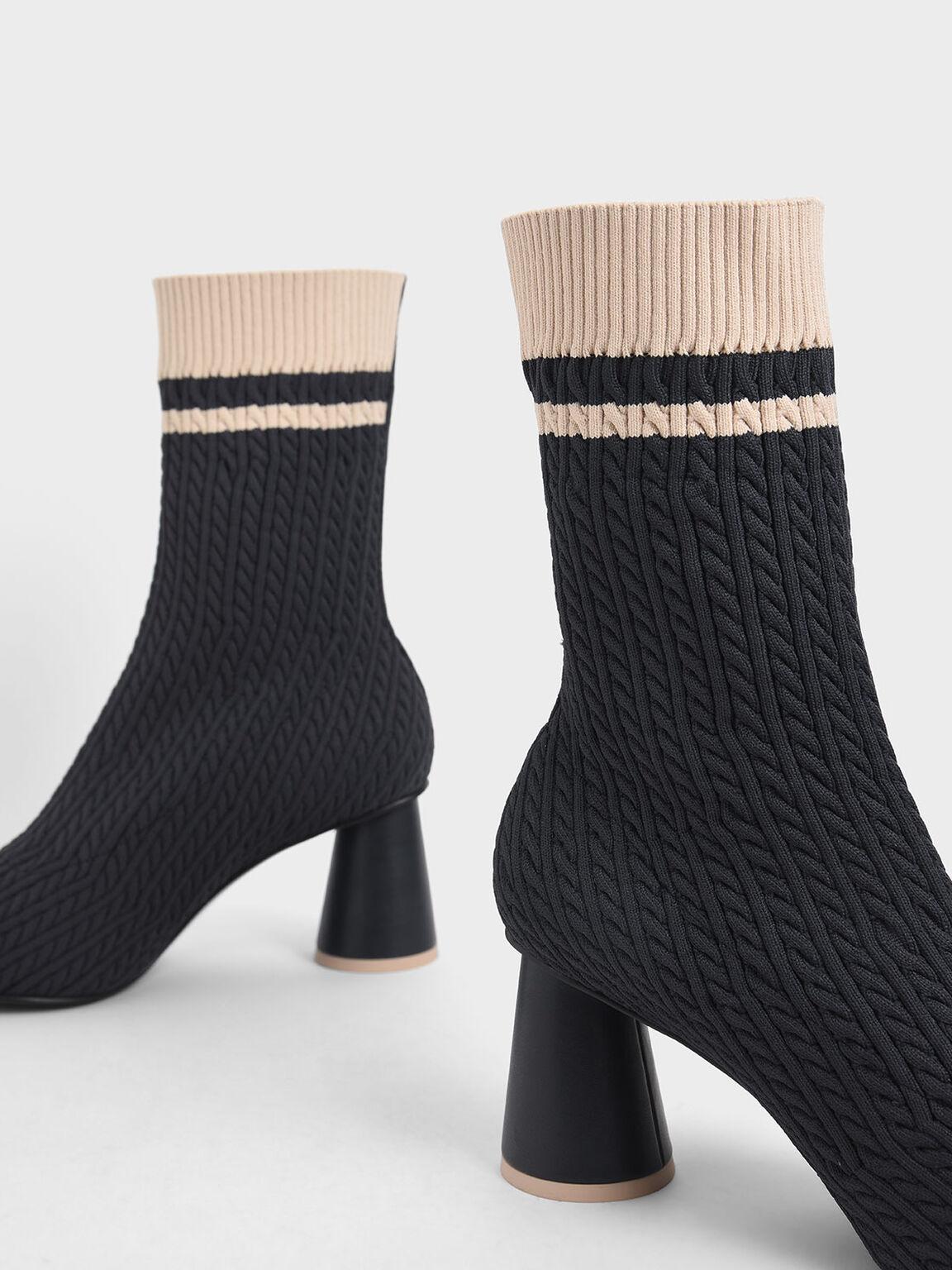 圓柱跟針織襪靴, 深藍色, hi-res