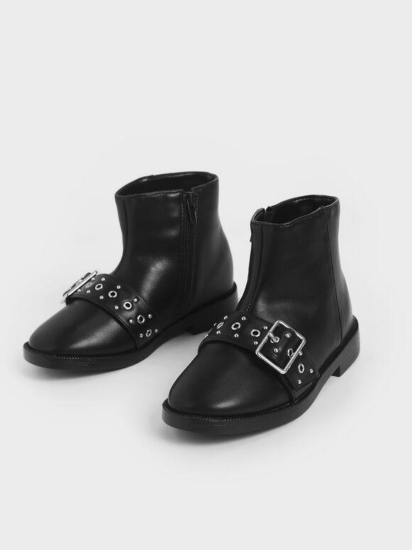 Girls' Studded Ankle Boots, Black, hi-res