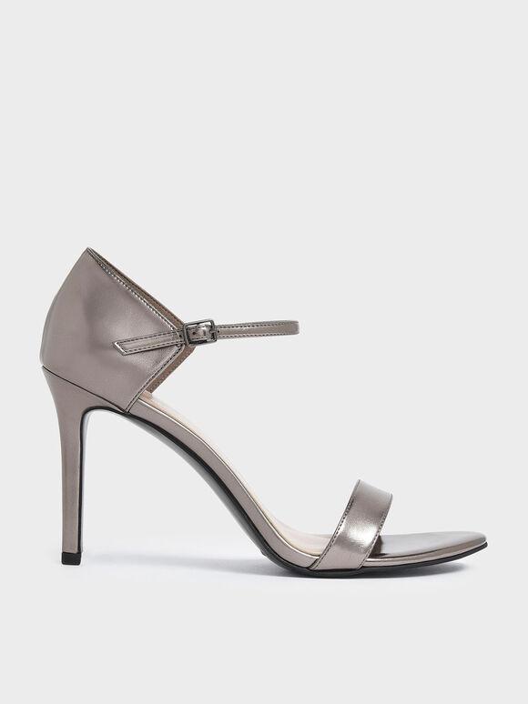 Metallic Ankle Strap Stiletto Heels, Pewter, hi-res