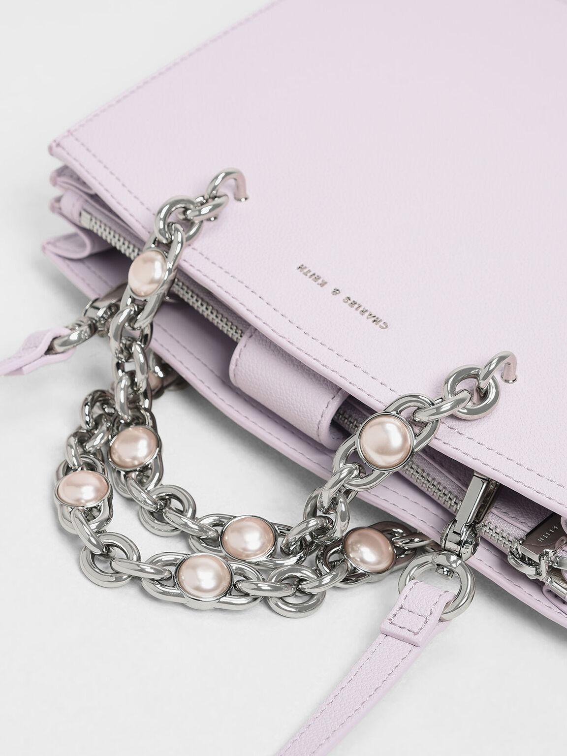 Embellished Chain Top Handle Bag, Lilac, hi-res