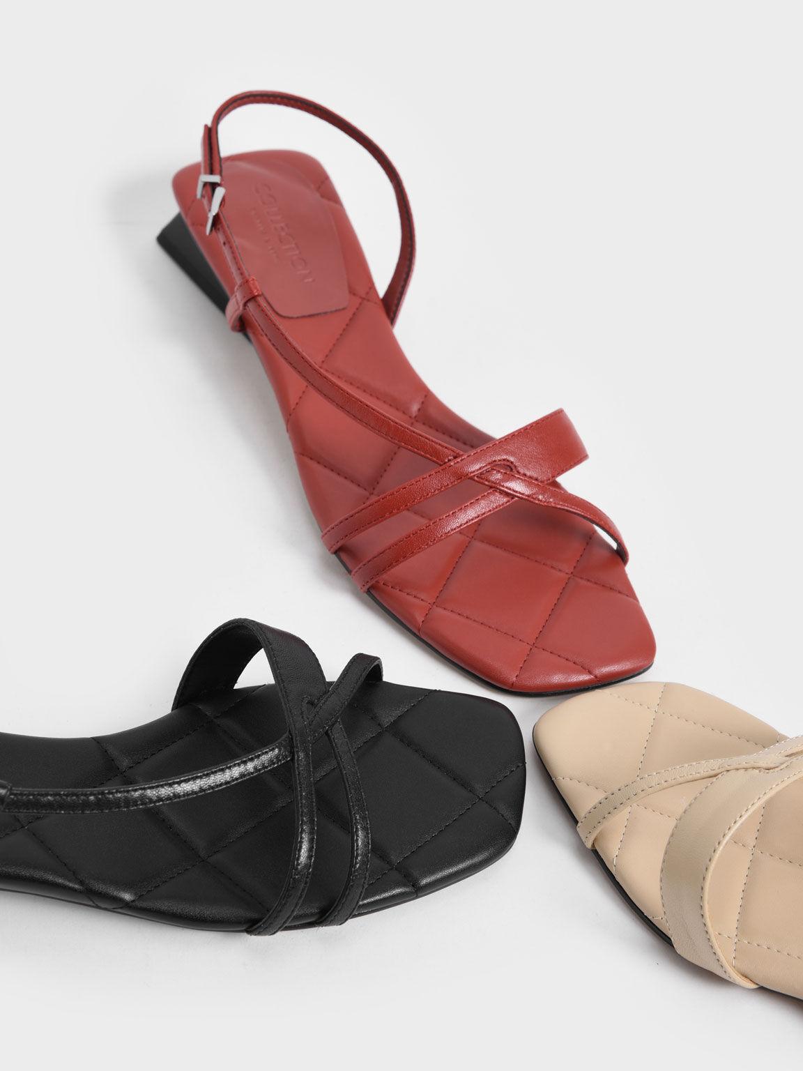 Leather Trapeze Heel Slingback Sandals, Brick, hi-res