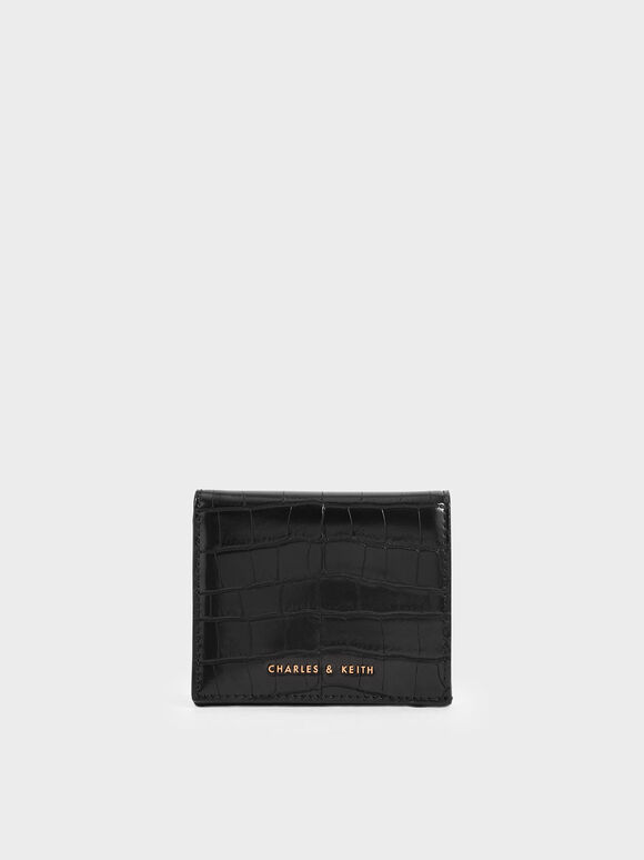 Croc-Effect Small Wallet, Black, hi-res