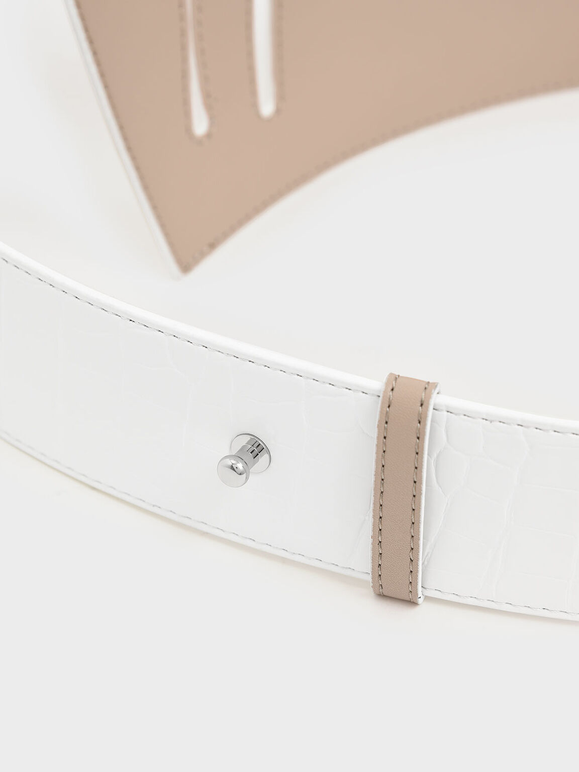 Two-Tone Asymmetric Waist Belt, White, hi-res