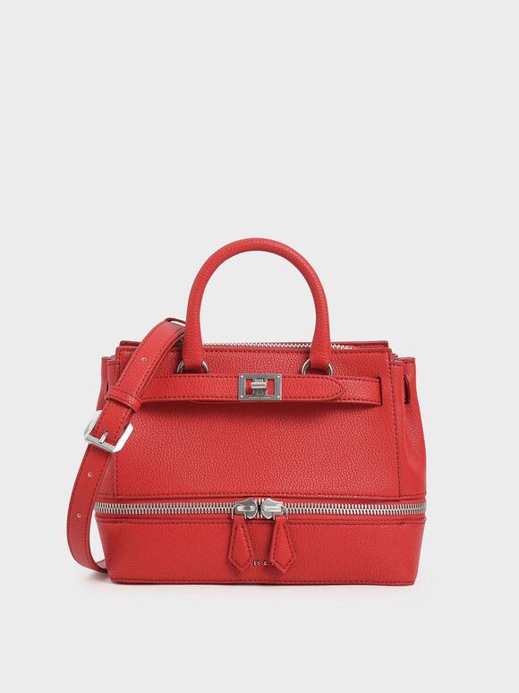Two-Way Zip Structured Bag, Red, hi-res