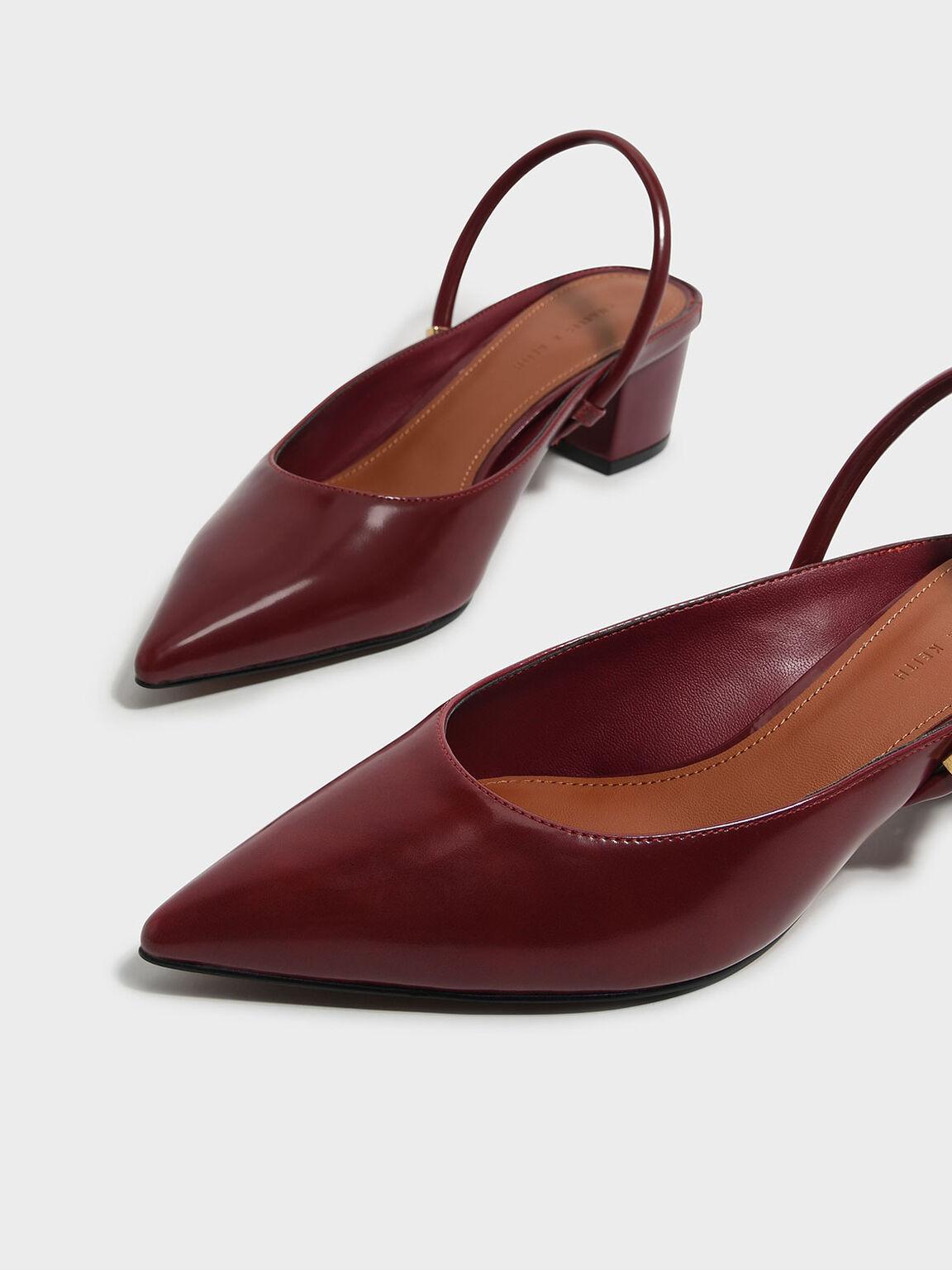 Pointed Slingback Heels, Red, hi-res