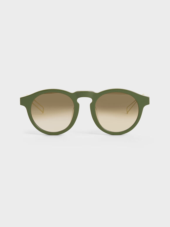Round Acetate Sunglasses, Green, hi-res