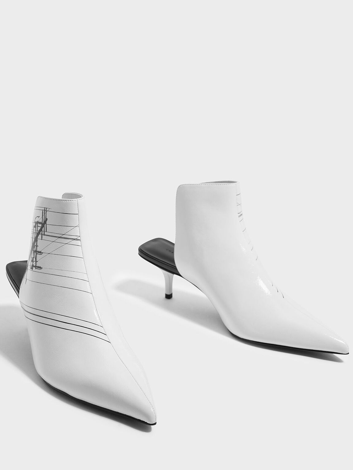 Patent Pointed Mules, White, hi-res