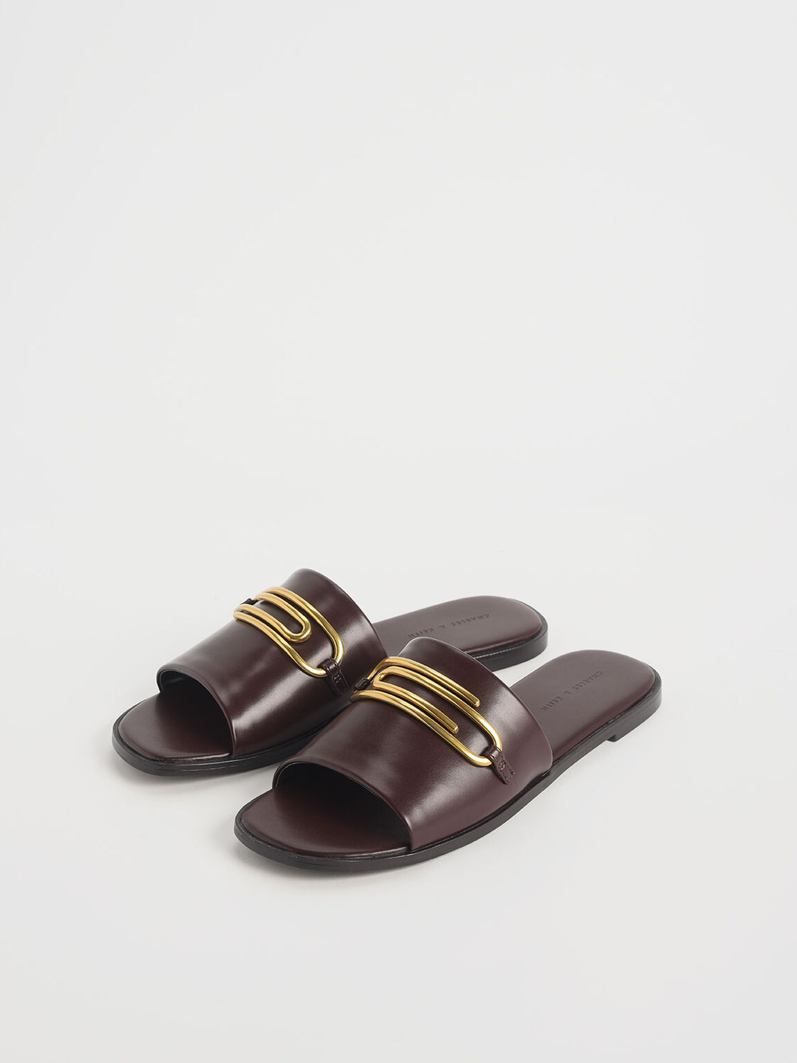 Metal Accent Slide Sandals, Brown, hi-res
