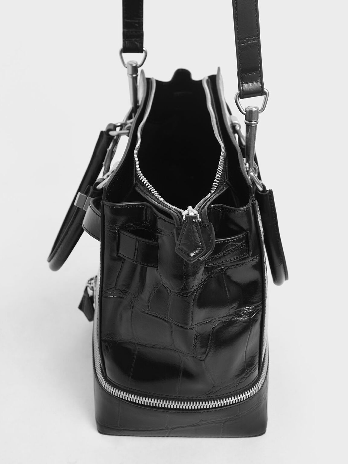 Large Croc-Effect Two-Way Zip Tote, Black, hi-res
