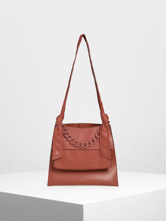 Single Handle Hobo Bag, Clay