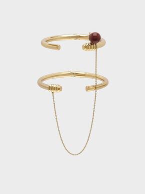 Jasper Stone Chain Link Bracelet, Gold