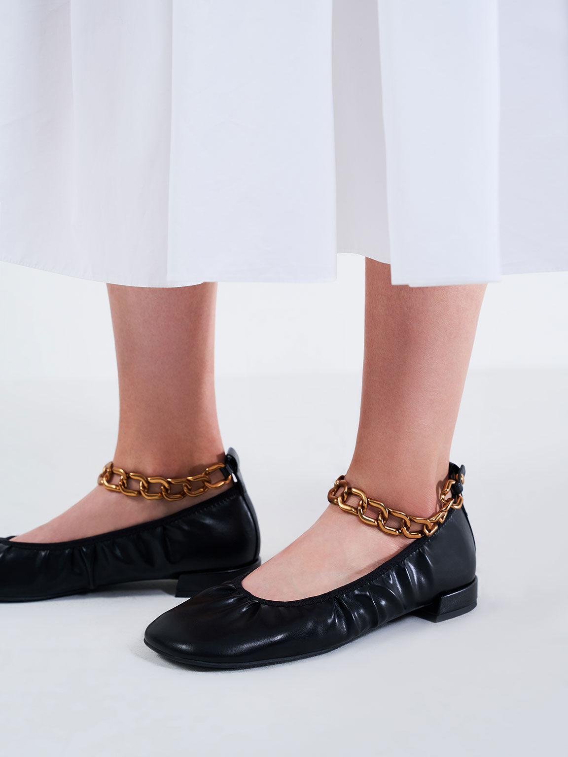 Chunky Chain Ankle Ballerina Flats, Black, hi-res