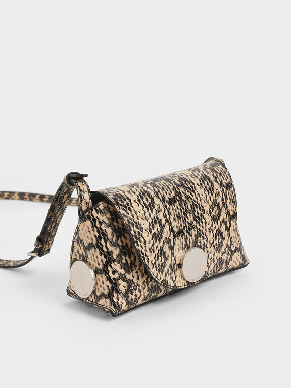 Snake Print Metal Accent Mini Crossbody Bag, Beige