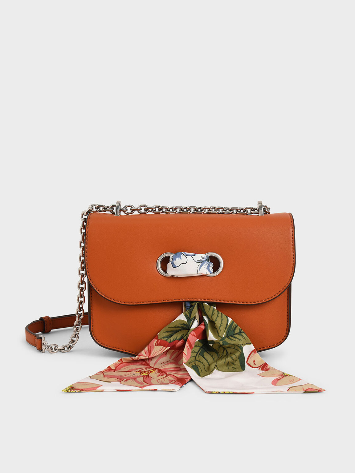 Chiffon Scarf Double Strap Shoulder Bag, Orange, hi-res