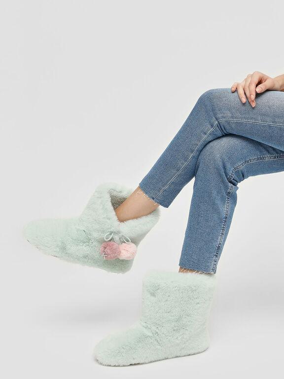 Furry Pom Pom Boots, Mint Green