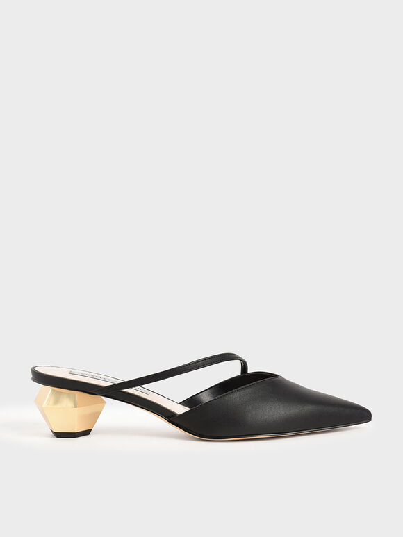 Asymmetric Strap Chrome Heel Mules, Black, hi-res