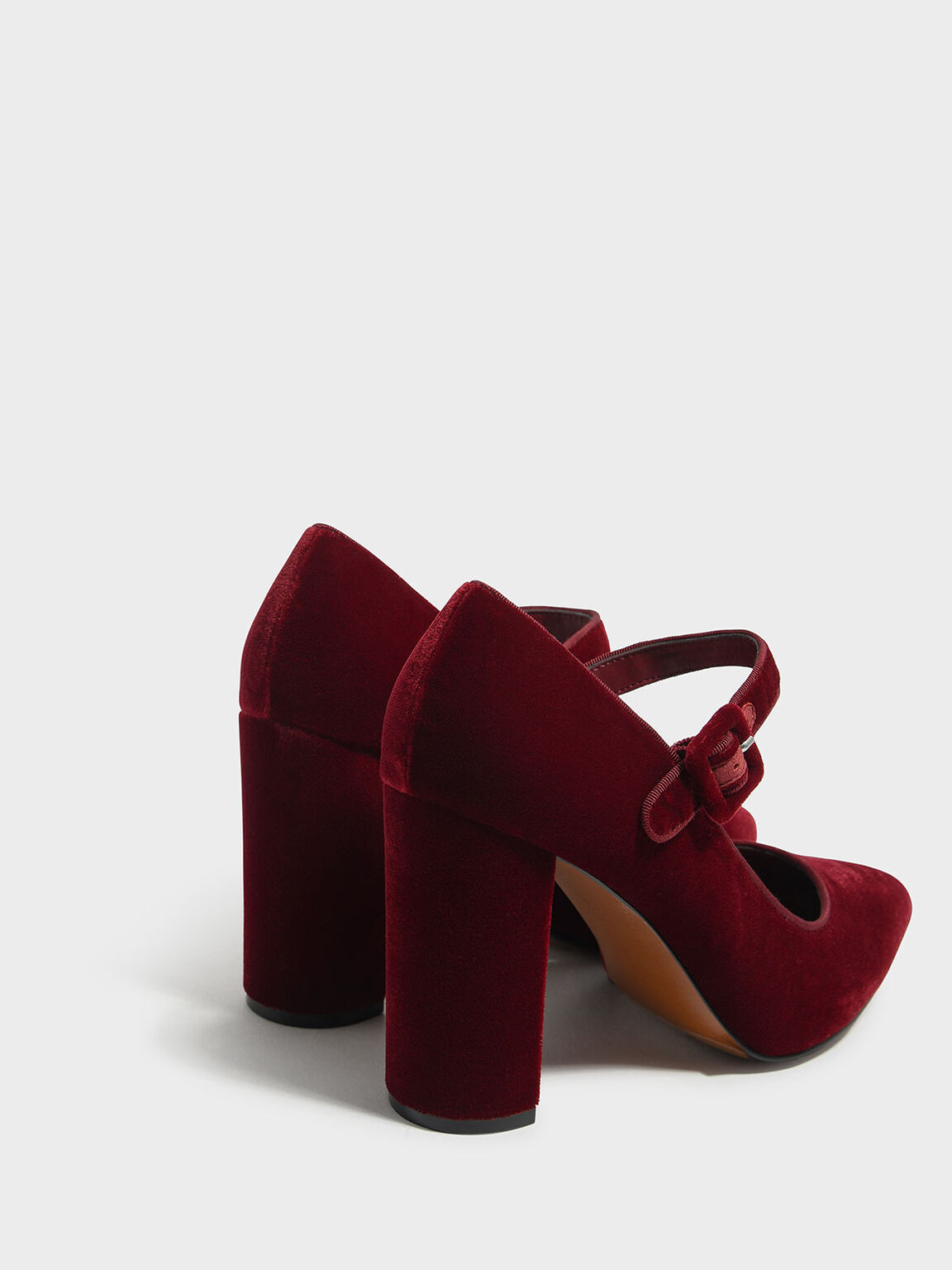 Block Heel Mary Janes, Red, hi-res