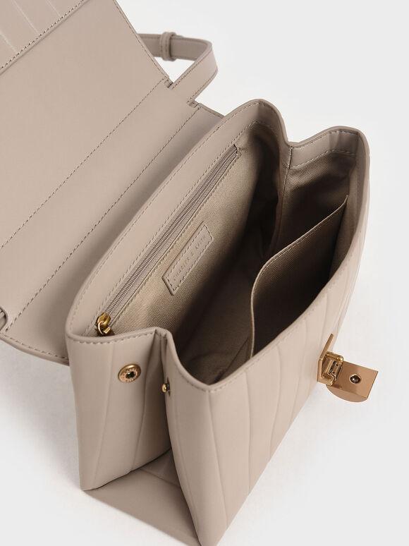 直條衍縫斜背包, 灰褐色, hi-res