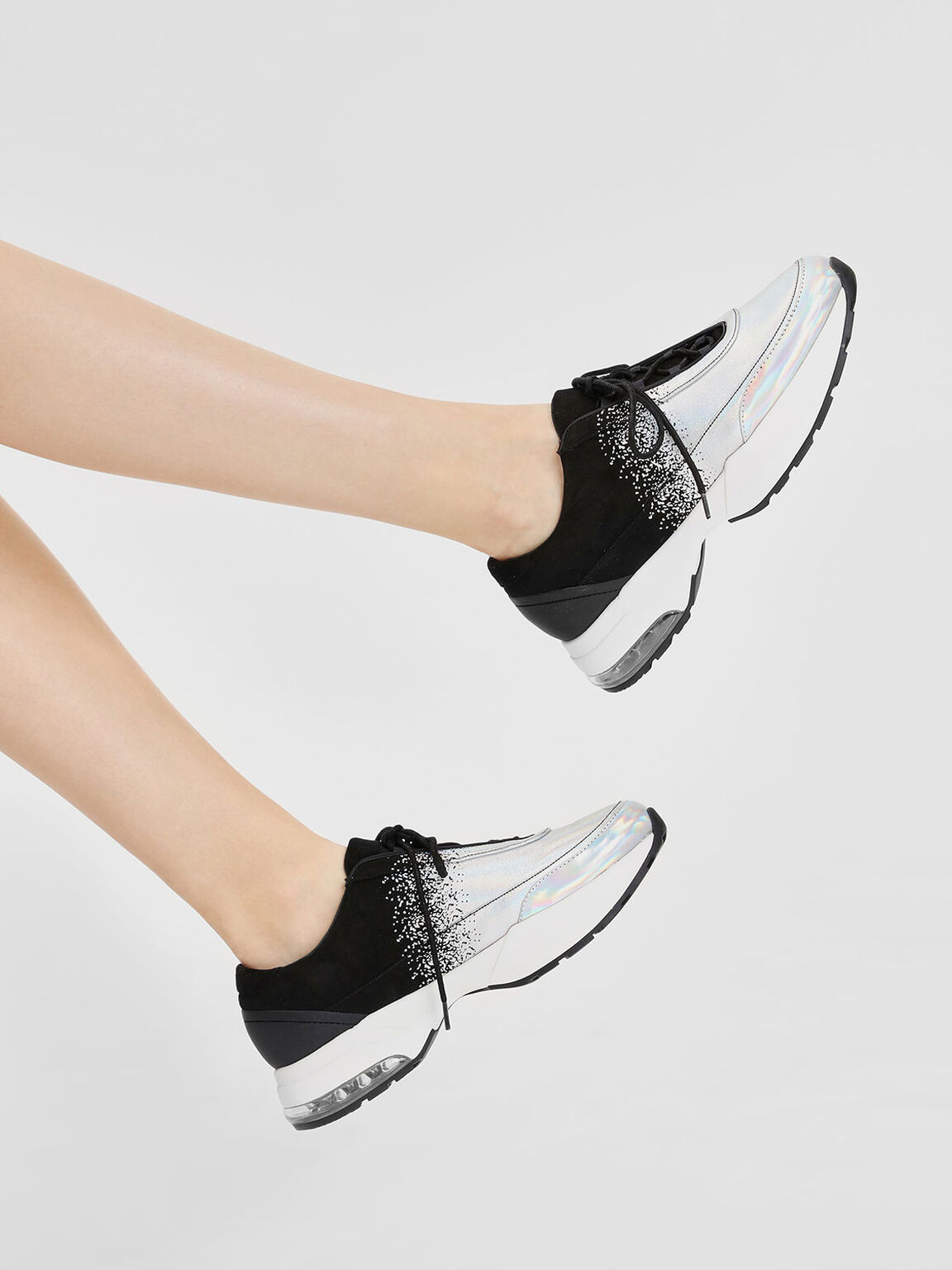 Chunky Sneakers, Black Textured, hi-res