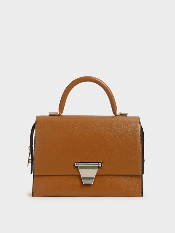Metal Push-Lock Top Handle Bag, Cognac, hi-res