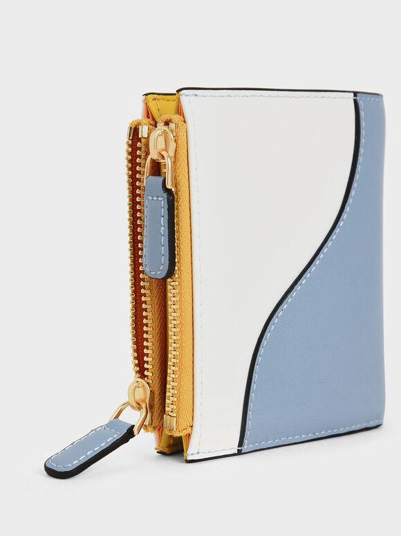 Two-Tone Top Zip Mini Wallet, Denim Blue, hi-res