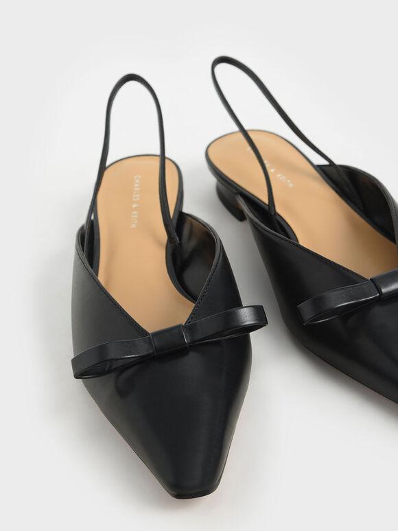 蝴蝶結尖頭平底鞋, 黑色, hi-res