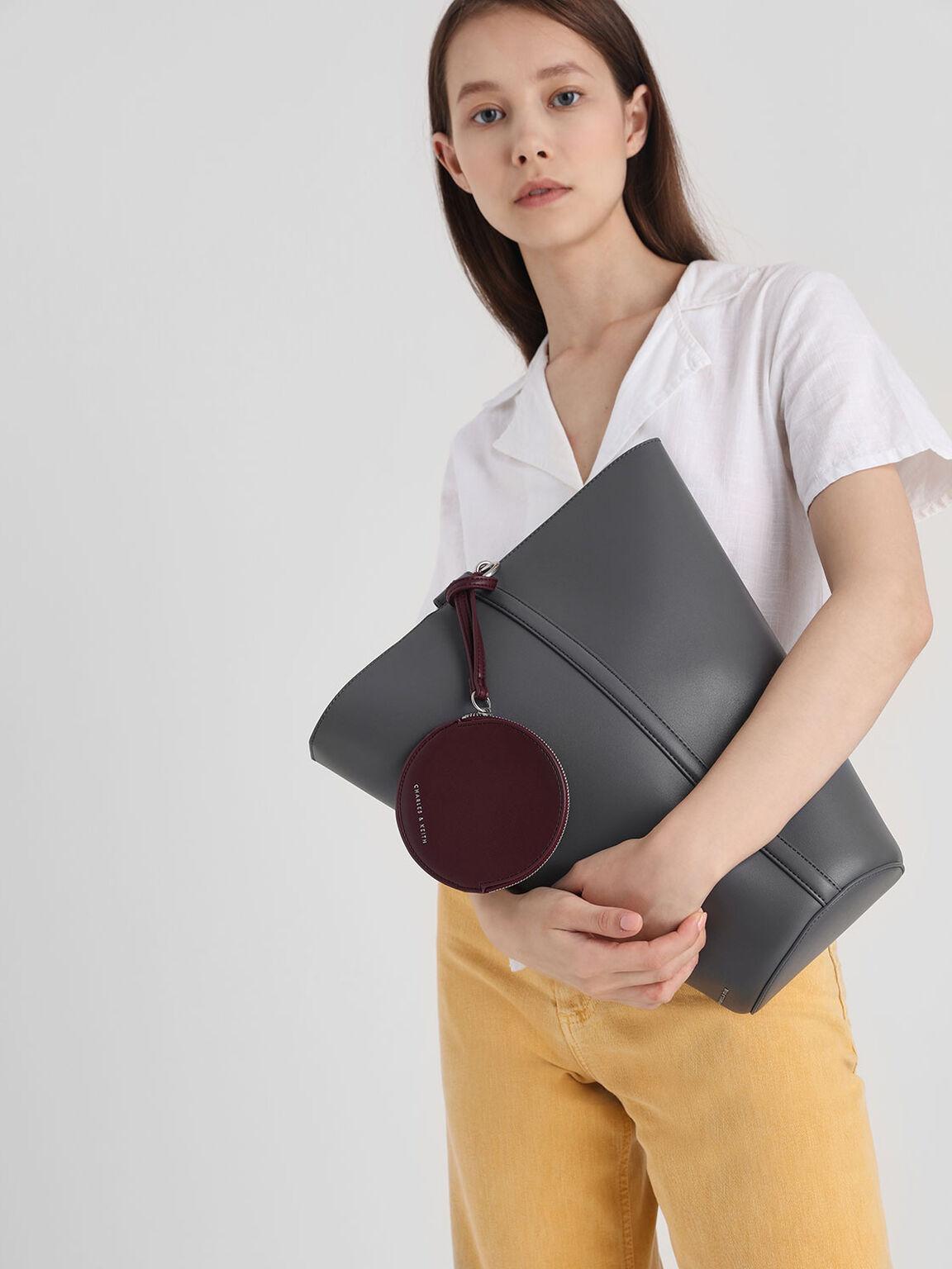 Slanted Bucket Bag, Grey, hi-res