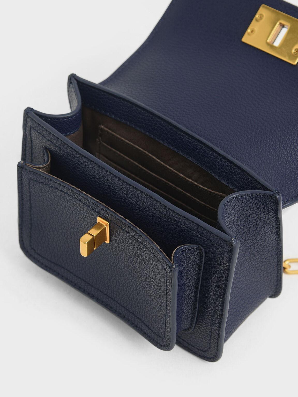 Resin-Effect Buckle Mini Bag, Dark Blue, hi-res