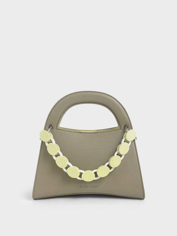 Acrylic Top Handle Sculptural Bag, Grey, hi-res