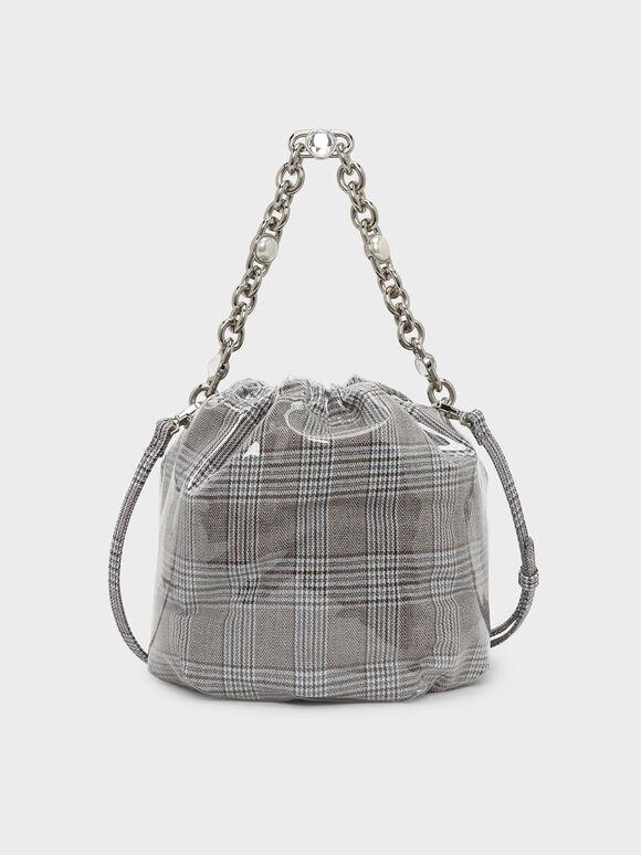Chain Handle Bucket Bag, Olive, hi-res
