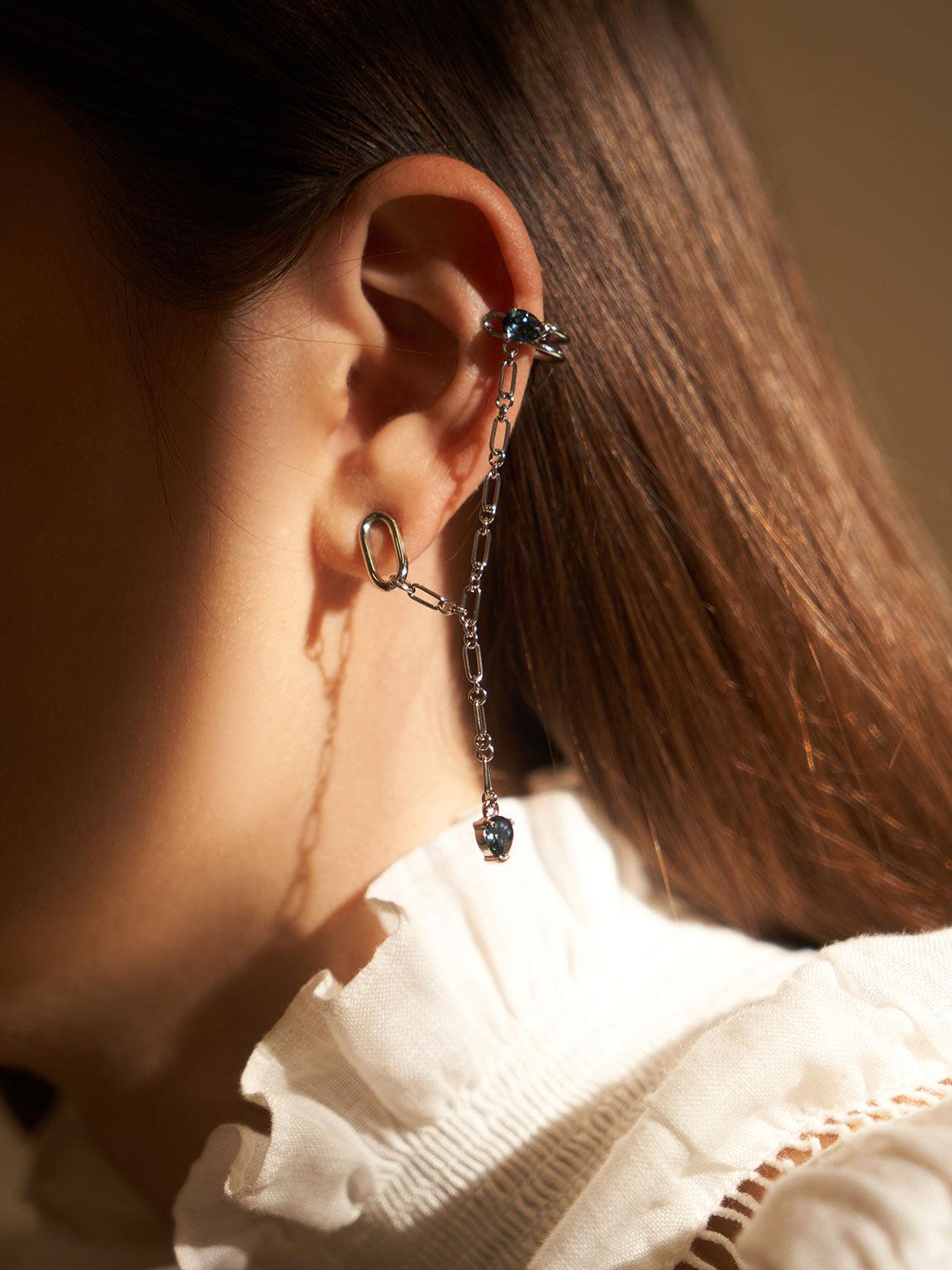 Crystal Embellished Ear Cuff Drop Earrings, Silver, hi-res