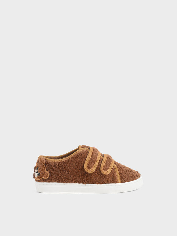 Girls' Textured Sneakers, Brown, hi-res
