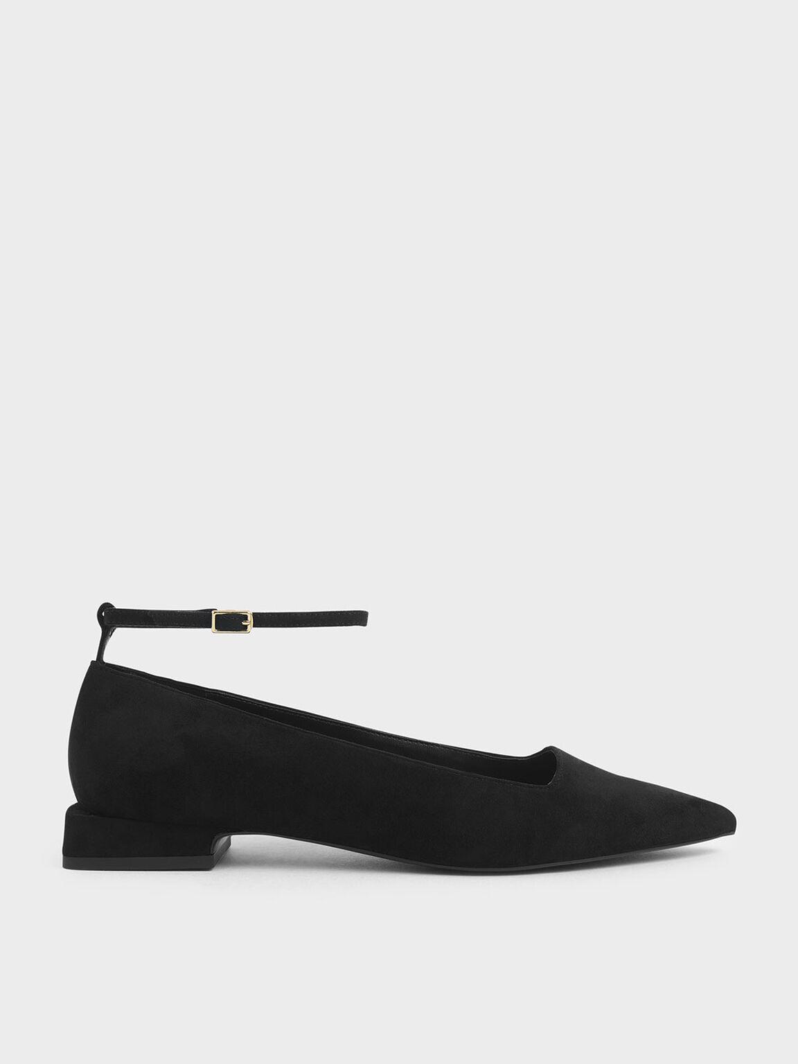 Textured Ankle Strap Flats, Black, hi-res