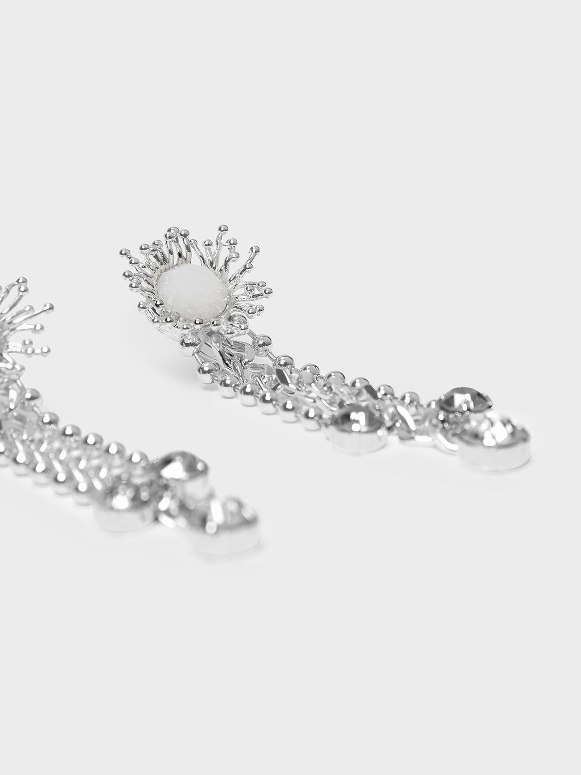 Crystal Drop Clip On Earrings, White, hi-res
