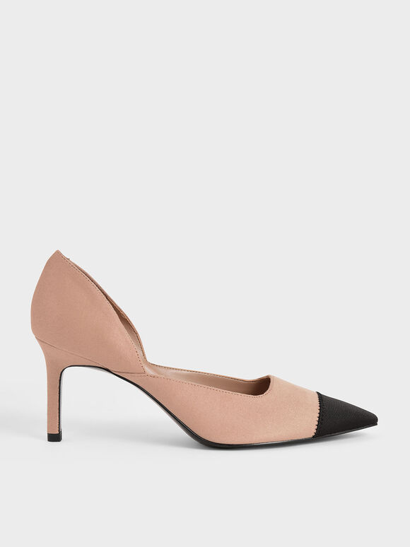 Textured D'Orsay Stiletto Pumps, Nude, hi-res