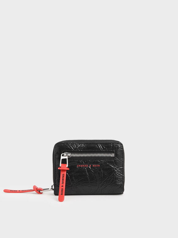 Mini Wrinkled Effect Short Wallet, Black, hi-res