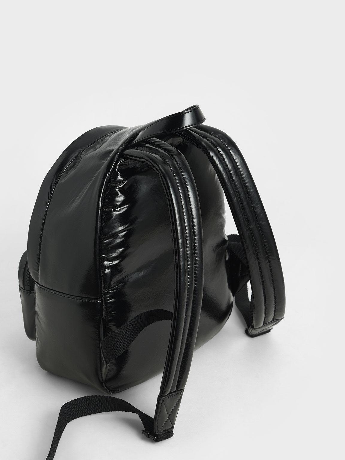 V字衍縫後背包, 黑色, hi-res